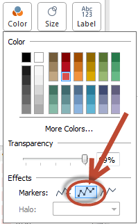 dots on colour shelf