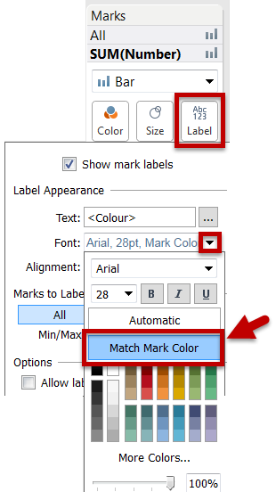 """""""Match Mark Colour"""" is found on the Font drop down in the Label menu."""