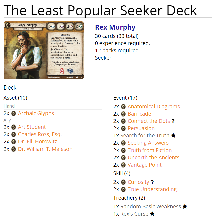 ArkhamDB Arkham Horror: Rex and the least popular Seeker deck