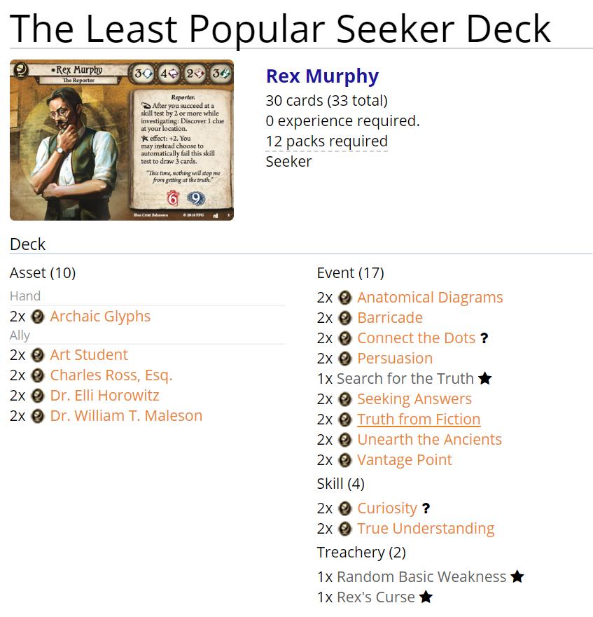 ArkhamDB Arkham Horror: Rex and the least popular Seeker deck